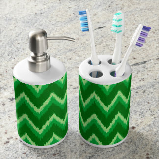 ikat chevron stripes pine and lime green bathroom set