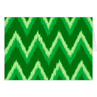 Ikat Chevron Stripes - Pine and Lime Green Card