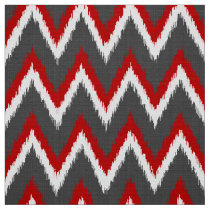 Ikat Chevron Stripes - Red, White and Grey / Gray Fabric