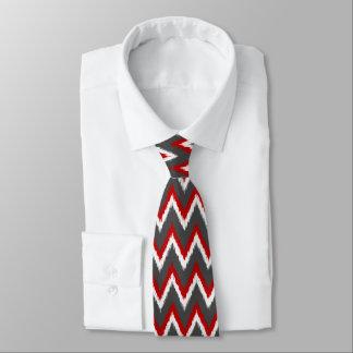 Ikat Chevron Stripes - Red, White and Grey / Gray Tie