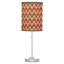 Ikat Chevron Stripes - Rust, Brown and Beige Desk Lamp