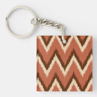 Ikat Chevron Stripes - Rust, Brown and Beige Keychain
