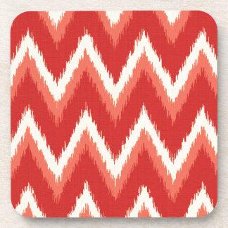 Ikat Chevron Stripes - Rust Orange and White Drink Coaster