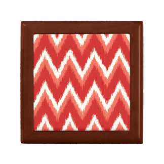 Ikat Chevron Stripes - Rust Orange and White Keepsake Box