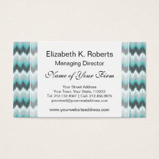 Ikat Chevron Zig Zags Green Gray Elegant Tribal Business Card