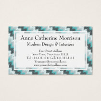Ikat Chevron Zig Zags Green Gray Elegant Tribal Business Card