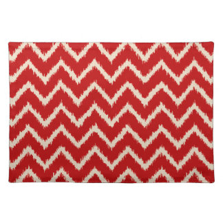 Ikat Chevrons - Chinese red and tan Placemat