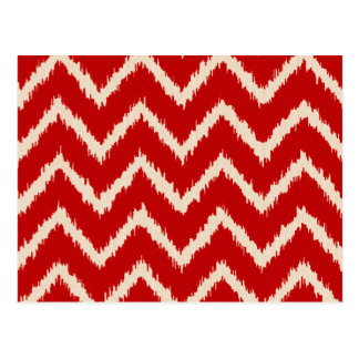 Ikat Chevrons - Chinese red and tan Postcard