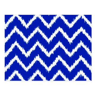 Ikat Chevrons - Cobalt blue and white Postcard