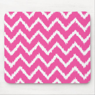Ikat Chevrons - Deep fuchsia pink and white Mouse Pad