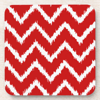 Ikat Chevrons - Deep red and white Coaster