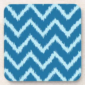 Ikat Chevrons - Indigo and Pale Blue Coaster