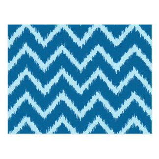 Ikat Chevrons - Indigo and Pale Blue Postcard