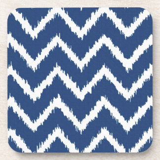 Ikat Chevrons - Navy blue and white Beverage Coaster