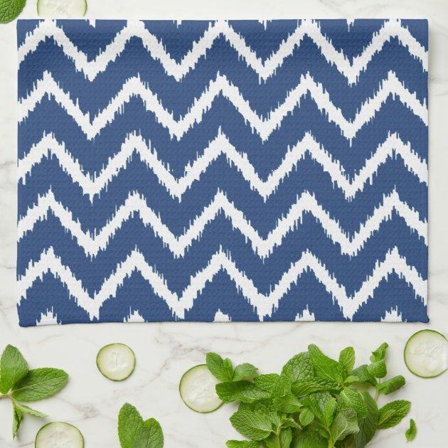 Charming Navy Blue Kitchen Towels   Ikat Chevrons Navy Blue And White Kitchen Towel  Zazzle