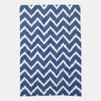 Ikat Chevrons - Navy blue and white Kitchen Towel