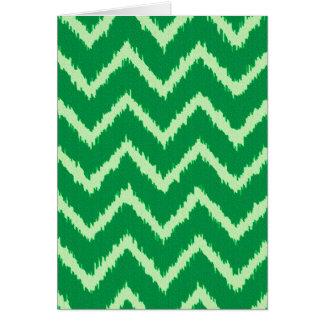 Ikat Chevrons - Pine and light green Card