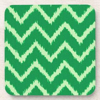 Ikat Chevrons - Pine and light green Coaster