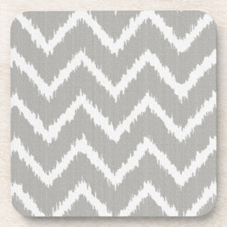 Ikat Chevrons - Silver grey and white Coaster