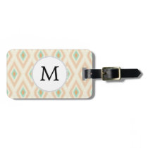 Ikat coral mint custom monogram bag tag