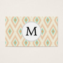 Ikat coral mint custom monogram business card