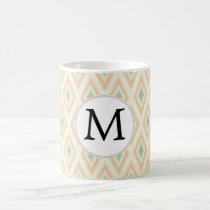 Ikat coral mint custom monogram coffee mug