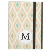 Ikat coral mint custom monogram iPad air case