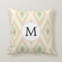 Ikat coral mint custom monogram throw pillow