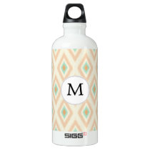 Ikat coral mint custom monogram water bottle