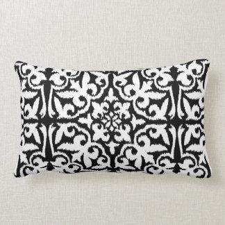 Ikat damask pattern - Black and White Lumbar Pillow