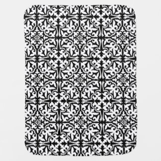 Ikat damask pattern - Black and White Stroller Blanket