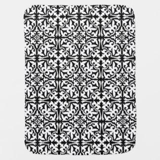 Ikat damask pattern - Black and White Stroller Blanket