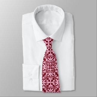 Ikat damask pattern - Burgundy and Pink Neck Tie