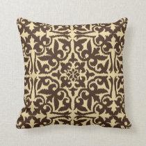 Ikat damask pattern - Chocolate Brown and Tan Throw Pillow