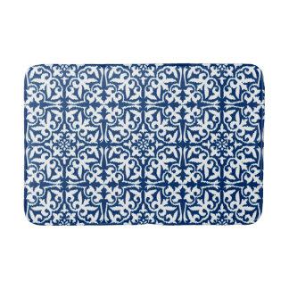 Ikat damask pattern - Cobalt Blue and White Bathroom Mat