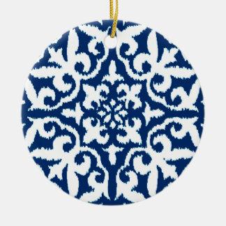 Ikat damask pattern - Cobalt Blue and White Ceramic Ornament