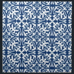 "Ikat damask pattern - Cobalt Blue and White Cloth Napkin<br><div class=""desc"">Digital reproduction of a damask medallion pattern with a striated,  Ikat woven texture - White on a deep cobalt blue background</div>"