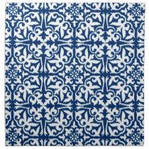 Ikat damask pattern - Cobalt Blue and White Cloth Napkin