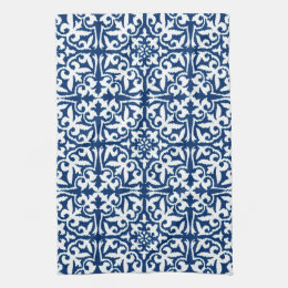 Ikat damask pattern - Cobalt Blue and White Hand Towel
