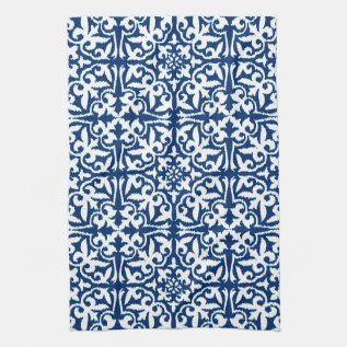 Ikat Damask Pattern - Cobalt Blue And White Hand Towel at Zazzle