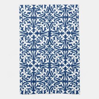 Ikat damask pattern - Cobalt Blue and White Kitchen Towels