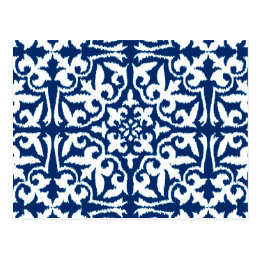 Ikat damask pattern - Cobalt Blue and White Postcard
