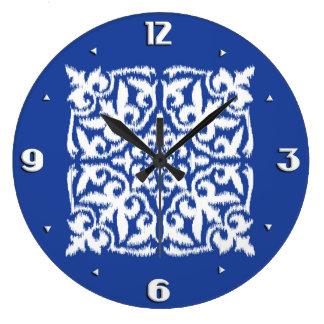 Ikat damask pattern - cobalt blue and white wall clock