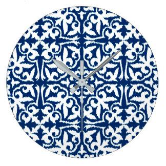 Ikat damask pattern - Cobalt Blue and White Wallclock