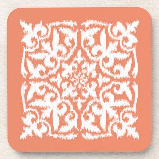 Ikat damask pattern - coral orange and white drink coaster
