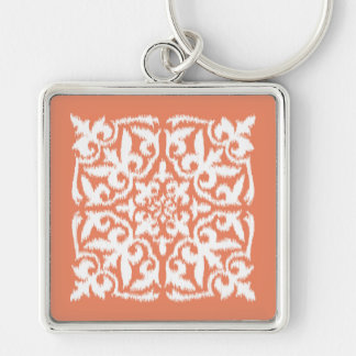 Ikat damask pattern - coral orange and white Silver-Colored square keychain