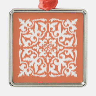 Ikat damask pattern - coral orange and white square metal christmas ornament