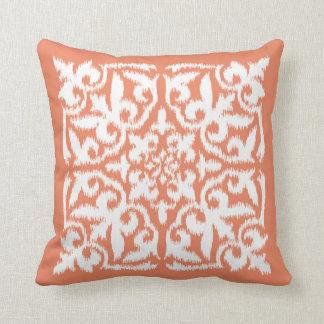 Ikat damask pattern - coral orange and white throw pillows