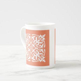 Ikat damask pattern - coral orange and white tea cup