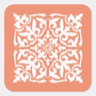 Ikat damask pattern - coral orange and white square sticker